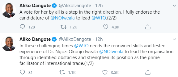 Dangote endorses Ngozi Okonjo-Iweala for World Trade Organization DG Job