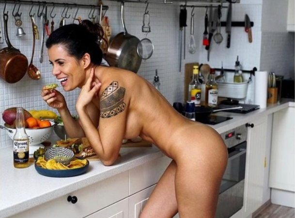 Chef turned Playboy model shares naked photos to encourage fans to cook at home