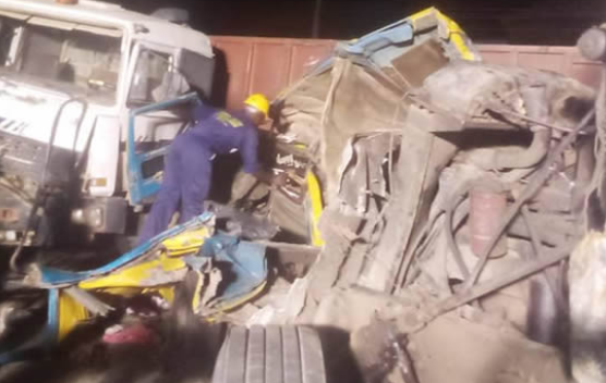 Two women killed as trucks and tanker collide with commercial bus in Lagos (photos)