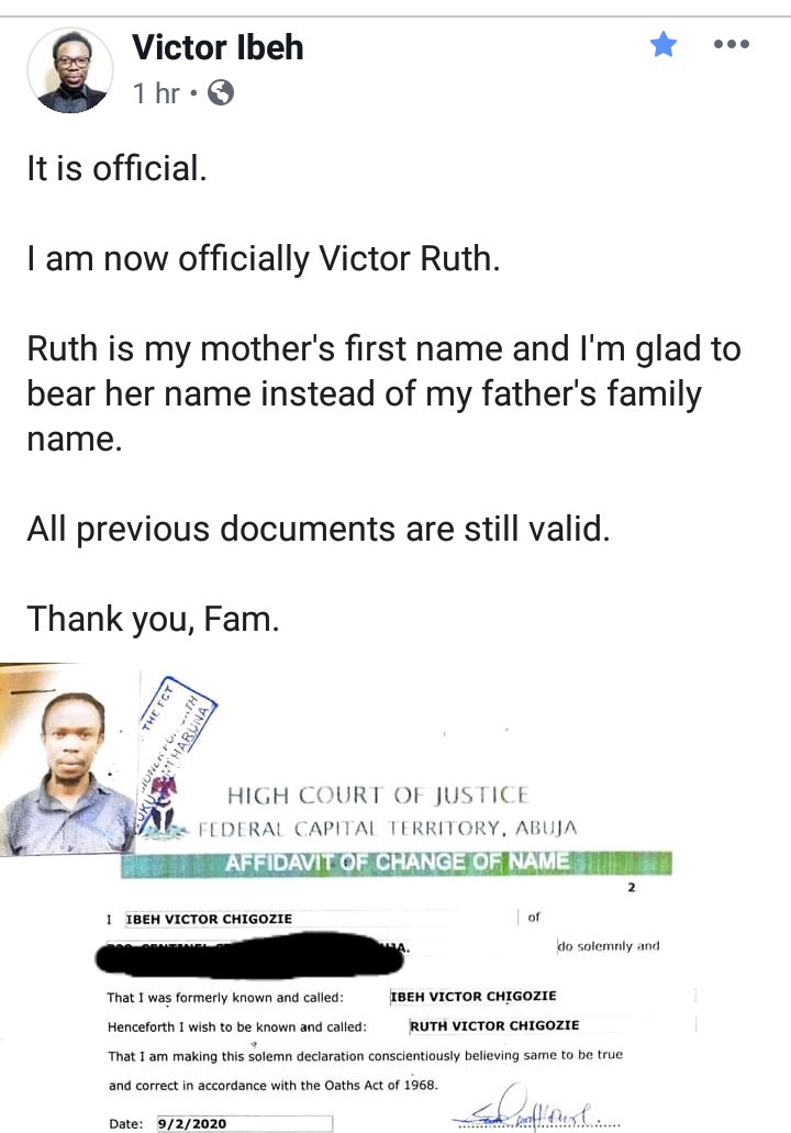 Nigerian therapist officially changes his surname to his mother