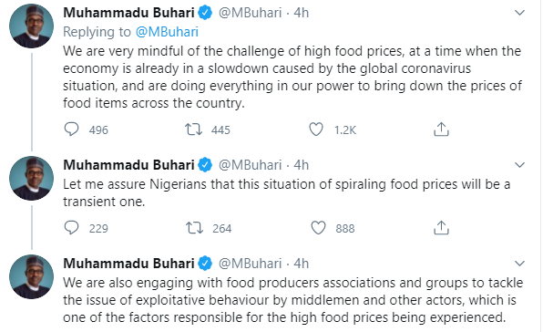 We are doing everything in our power to bring down the prices of food items across the country- President Buhari