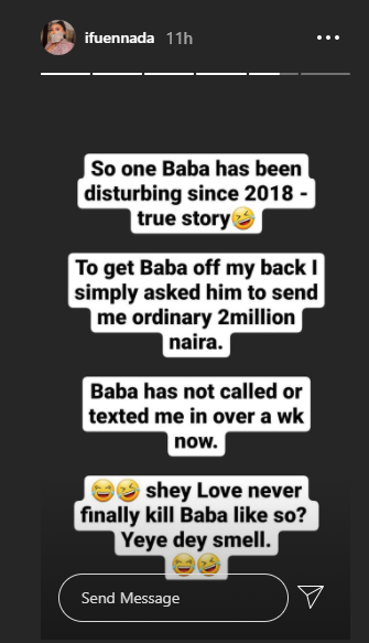 I asked him to send me ordinary N2 million and he is yet to call or text back - Ifu Ennada narrates how she got a man off her back