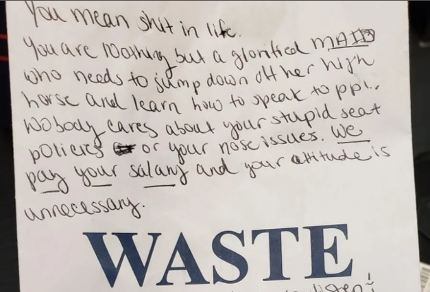 See the condescending handwritten note a passenger handed to a flight attendant after being asked to wear a nose mask