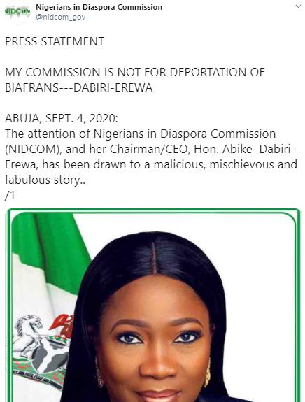 My commission is not for deportation of Biafrans- Abike Dabiri-Erewa tells MASSOB members