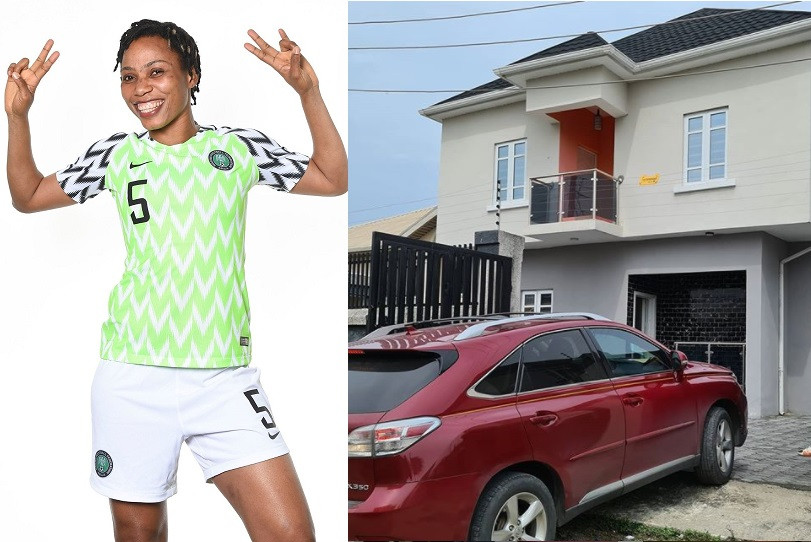 Super Falcons star, Onome Ebi shows off her newly acquired house in Lagos (photo)