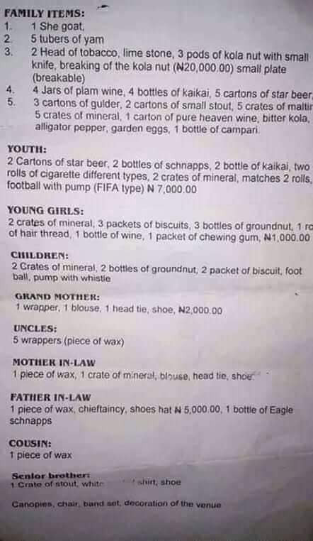 See list of marriage items reportedly made by a Nigerian family