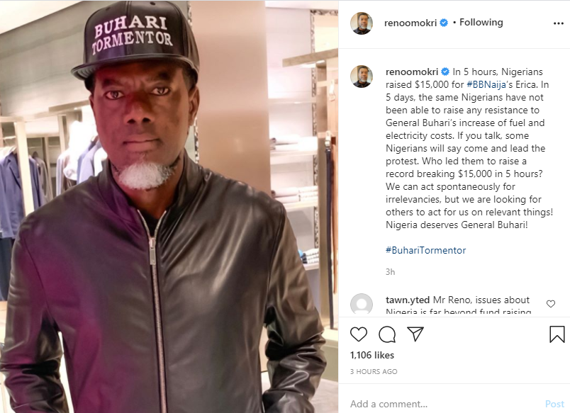 Nigerians raised $15,000 for BBNaija?s Erica in 5 hours but have not been able to put up resistance to Buhari over increased fuel and electricity cost - Reno Omokri