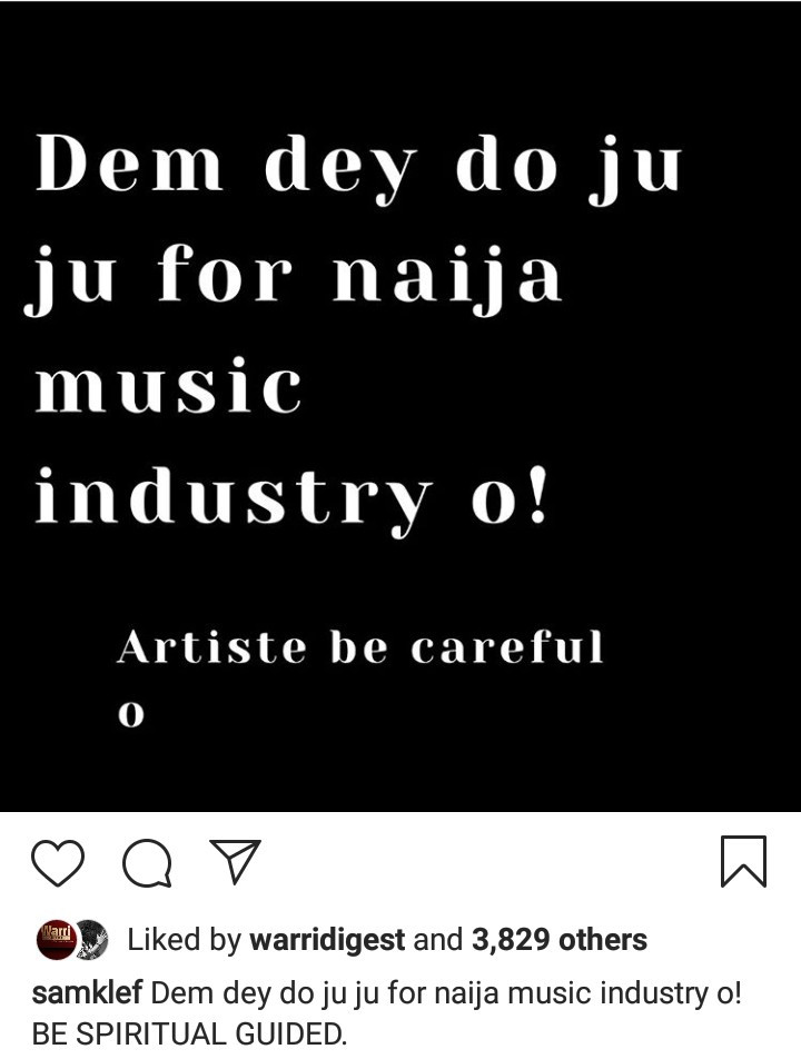 """Samklef claims a lot of """"juju"""" goes on in the Nigerian music industry and warns artistes to be careful"""