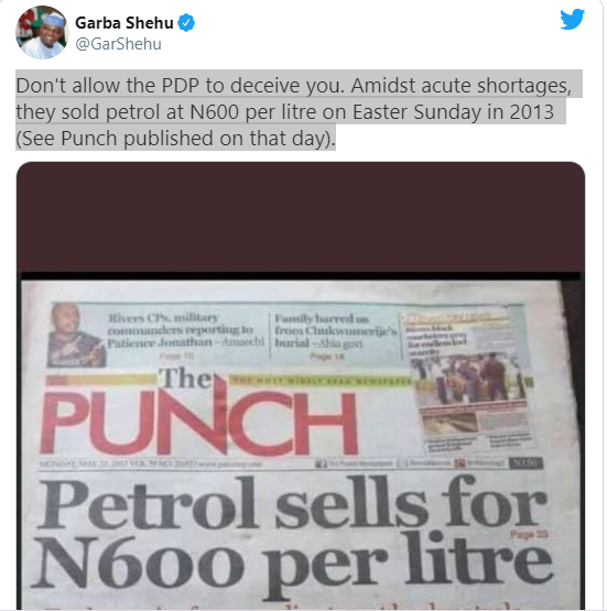 Petrol sold at N600 per litre under PDP - Garba Shehu