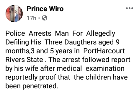 38-year-old man allegedly rapes three daughters aged 9 months, 3 and 5 years in Port Harcourt