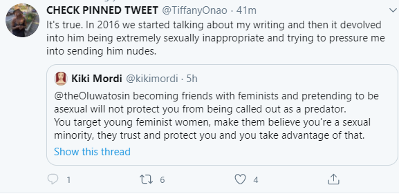 Kiki Mordi accuses her friend and fellow journalist, Oluwatosin Adeshokan, of being a predator who harasses young girls after gaining their trust