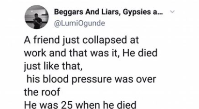 Photographer narrates how his friend collapsed at work and died of HBP at the age of 25