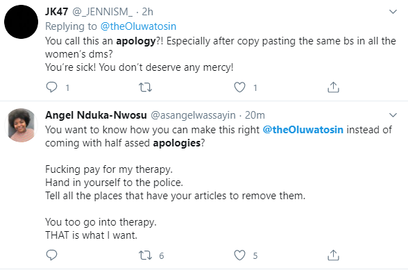 Journalist Oluwatosin Adeshokan apologizes for allegedly taking sexual advantage of teenagers but Nigerians call him out on the apology