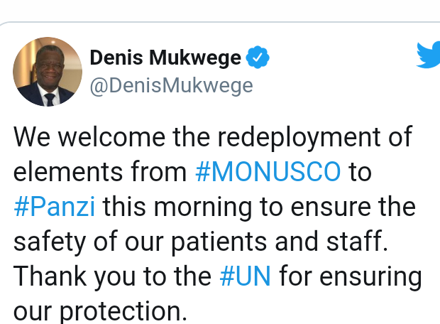 UN places Nobel Peace Prize winner, Denis Mukwege on 24 hours protection after he received death threats for demanding justice for crimes committed in Congo