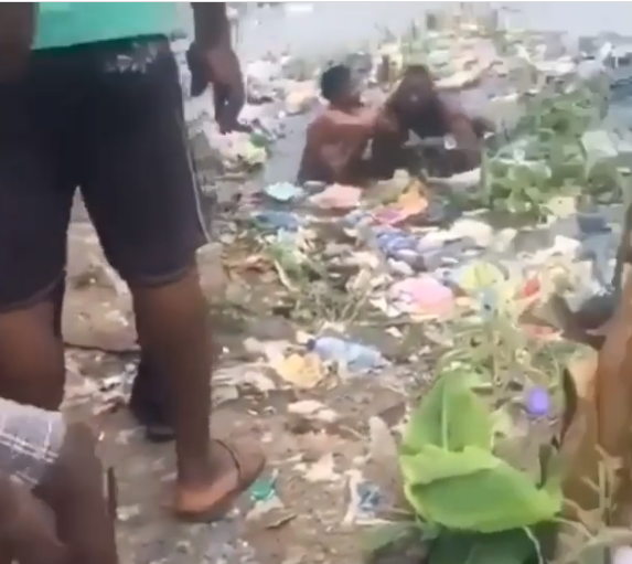 Two Nigerian women spotted fighting in a dirty pond (video)