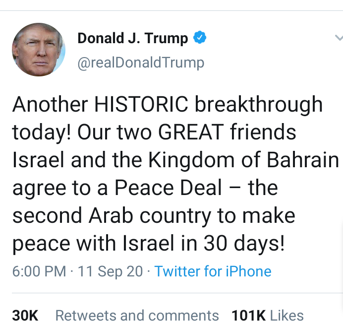 Trump announces deal between Bahrain & Israel to normalize relations in drive for Middle east peace
