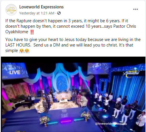 Pastor Chris Oyakhilome predicts when rapture will happen, says it won