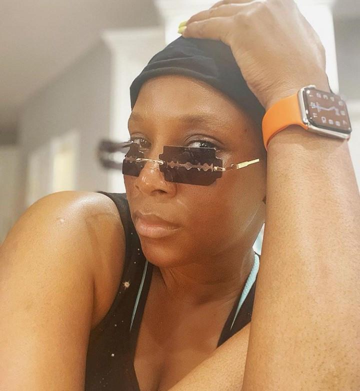 Genevieve Nnaji looks effortlessly chic in rimless razor blade sunglasses