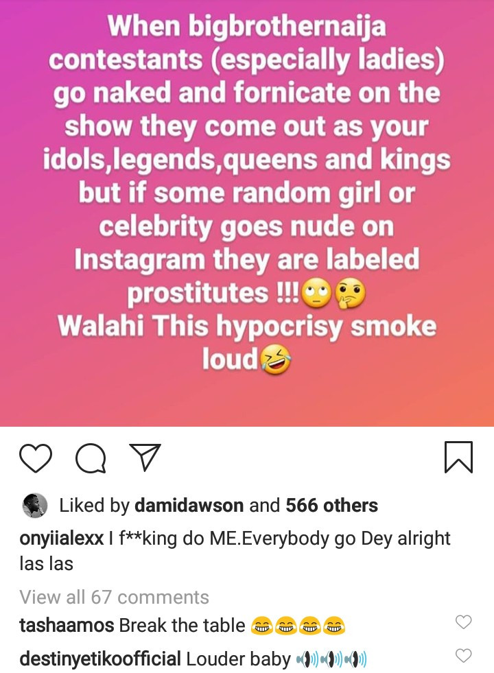 BbNaija stars are labeled idols for fornicating on TV but celebrities are called prostitutes if we pose nude - Actress Onyi Alex laments