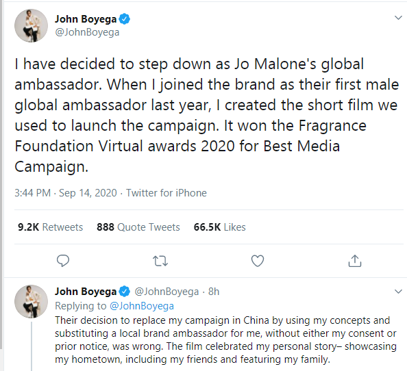 I don?t have time for nonsense - John Boyega ends ambassadorial deal with Jo Malone after being cut out of an advert for the Chinese market  5ominds 5ominds