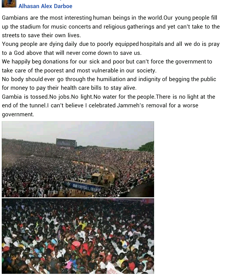 """Our young people fill up stadium for music concerts yet can?t take to the streets to save their own lives"" - Gambian journalist slams youths in his country"