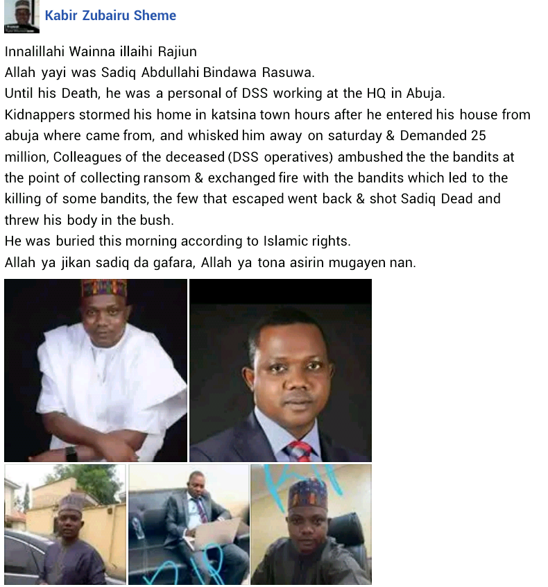 Kidnappers kill DSS operative in Katsina after collecting N5m ransom