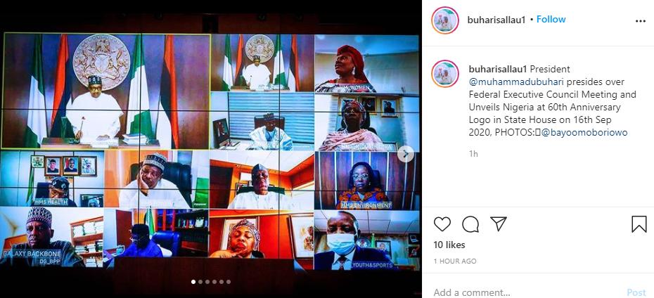 President Buhari unveils Nigeria's 60th Independence anniversary logo as he presides over 15th virtual FEC meeting [Photos] || PEAKVIBEZ