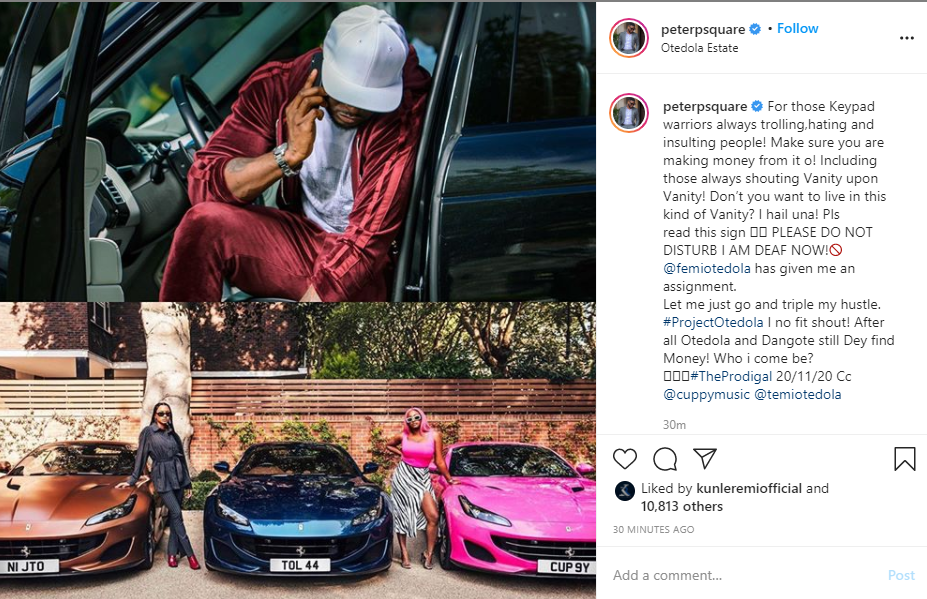 Make sure you are making money from trolling people - Peter Okoye tells keypad warriors as he reacts to Femi Otedola buying Ferraris for his daughters