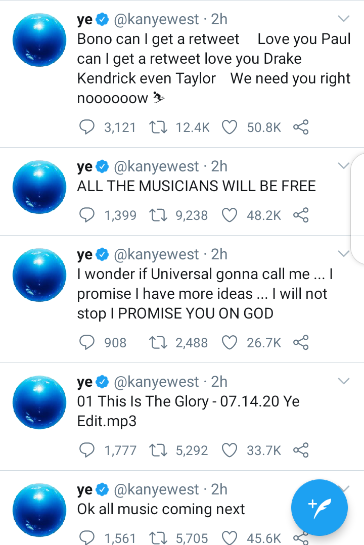 Kanye West urinates on his Grammy award, then tweets more attacks at Universal Music (Tweets/Video)