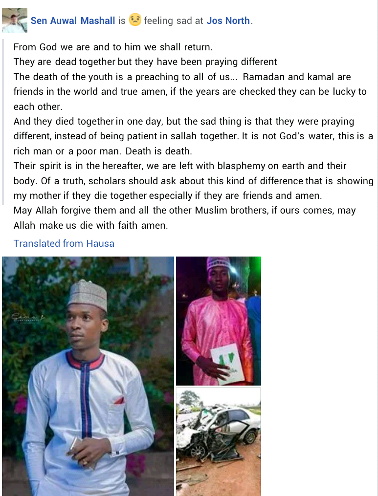 Son of Plateau state business tycoon and his best friend killed in fatal motor accident