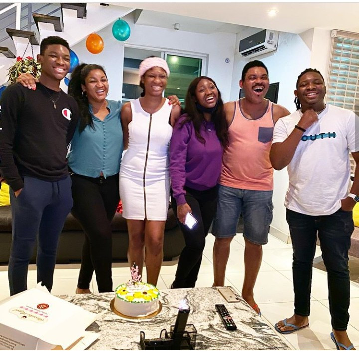 Omotola Jalade-Ekeinde and her family celebrate as her eldest child returns home after completing her Masters Degree (photos)