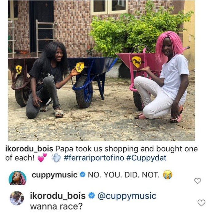 "Between DJ Cuppy and Ikorodu Bois as they  challenge her to a race while showing off their own ""Ferraris"""