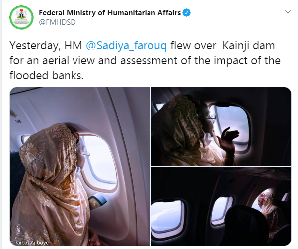 Stop wasting scarce resources ? Nigerians criticize Humanitarian affairs Minister, Sadiya Farouq after she flew over Kainji dam to access impact of flooded banks lindaikejisblog 22