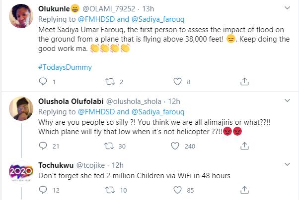 Stop wasting scarce resources ? Nigerians criticize Humanitarian affairs Minister, Sadiya Farouq after she flew over Kainji dam to access impact of flooded banks lindaikejisblog 5