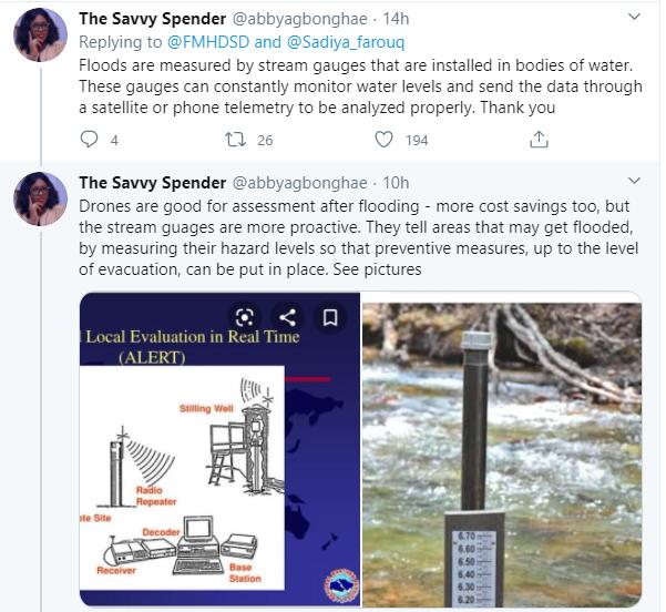 Stop wasting scarce resources ? Nigerians criticize Humanitarian affairs Minister, Sadiya Farouq after she flew over Kainji dam to access impact of flooded banks lindaikejisblog 6