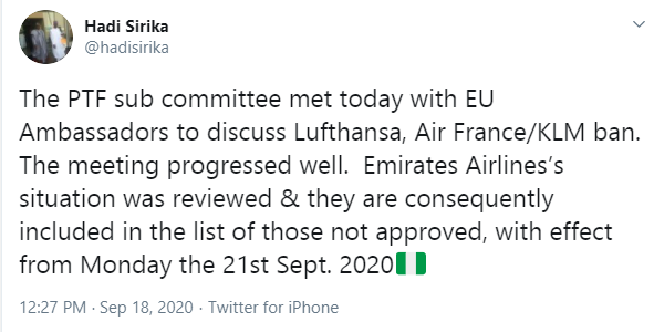FG bars Emirates Airlines from operating in Nigeria