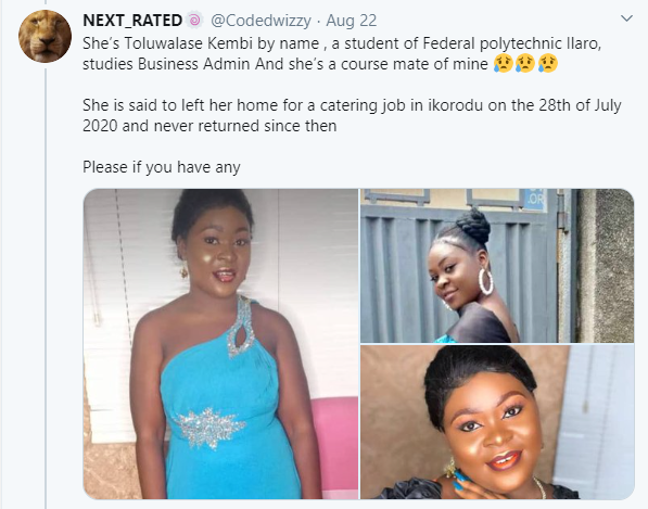 20-year-old student killed by boyfriend who was paid N2m to use her for ritual in Lagos