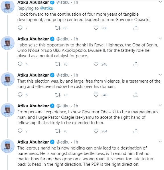"""""""The End of Godfatherism Has Come"""" Atiku Abubakar reacts to Obaseki"""