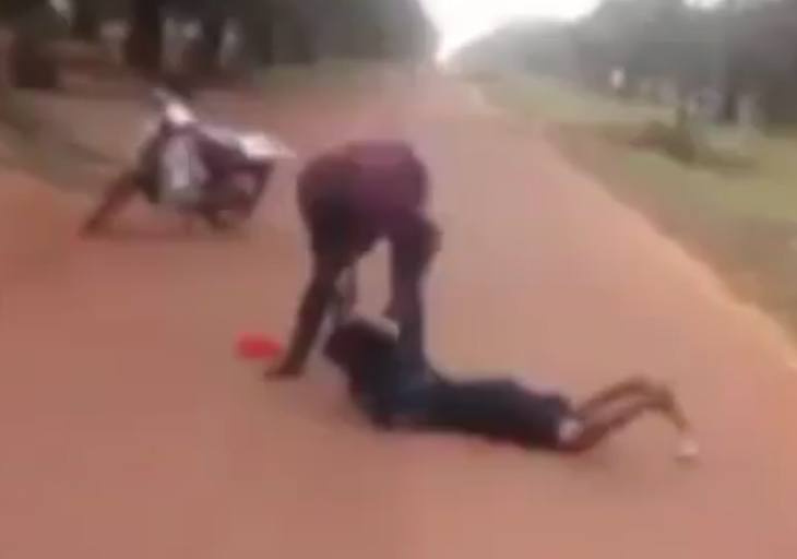 Man caught on camera brutally beating a woman at Kogi State University (video)