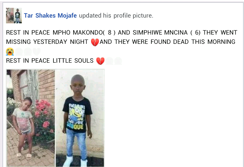 Two children, 8 and 6 found dead in South Africa a day after they went missing