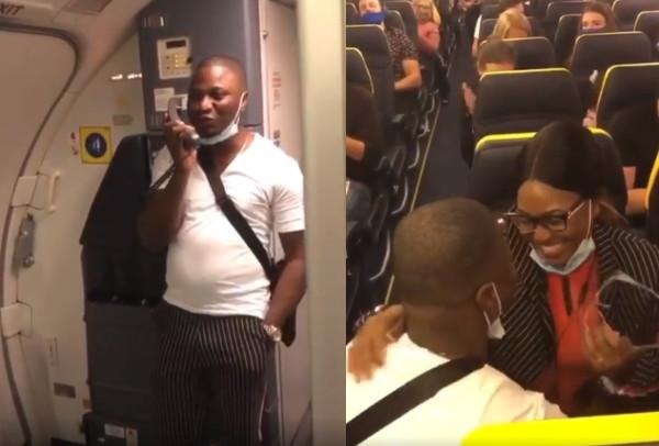 Nigerian man proposes to girlfriend onboard an international flight (video)