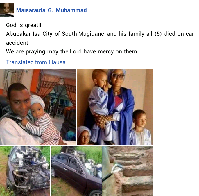 Nigerian couple and their three kids die in ghastly auto crash