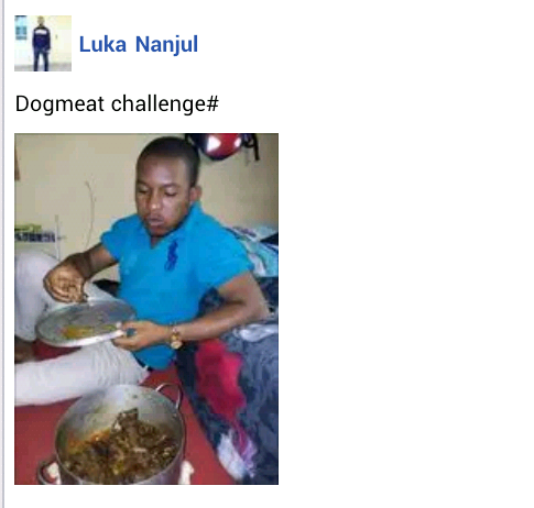 Nigerian doctor shares a photo of himself enjoying a pot of his faourite dog meat delicacy