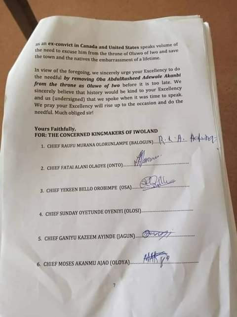 Kingmakers petition Osun State Governor seeking removal of Oluwo of Iwo for alleged misconduct and allegedly being an ex-convict