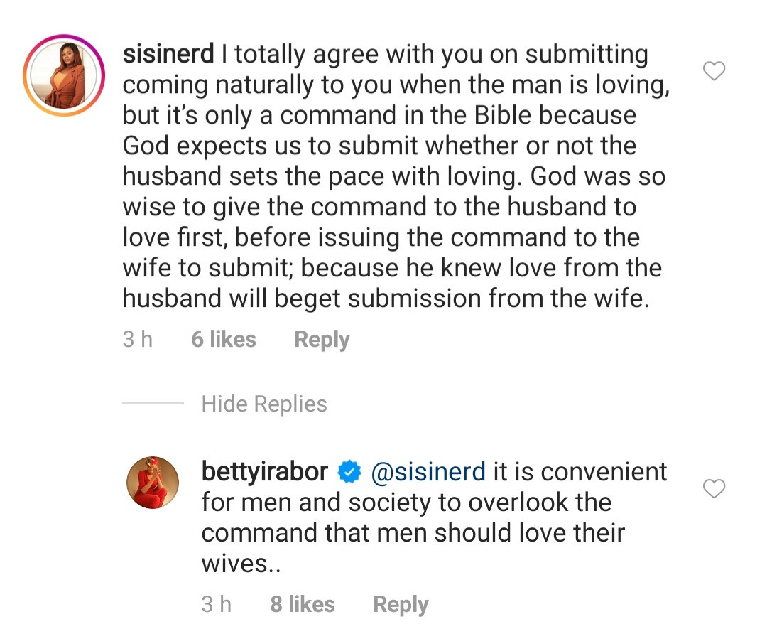 No woman will ever submit to a bully who thinks his wife owes him submission- Betty Irabor