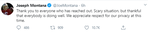 Joe Montana and wife prevent attempted kidnapping of their grandchild