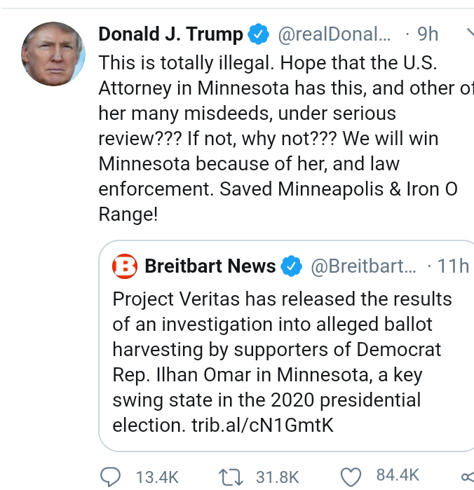US 2020: Trump demands probe into Muslim Democrat Ilhan Omar for ?harvesting ballots from vulnerable voters and paying others with bags of cash?
