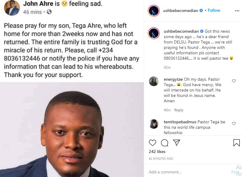 Nigerian Pastor Tega Ahre declared missing