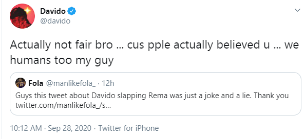 Davido reacts to allegation of slapping Rema at backstage of BBNaija arena