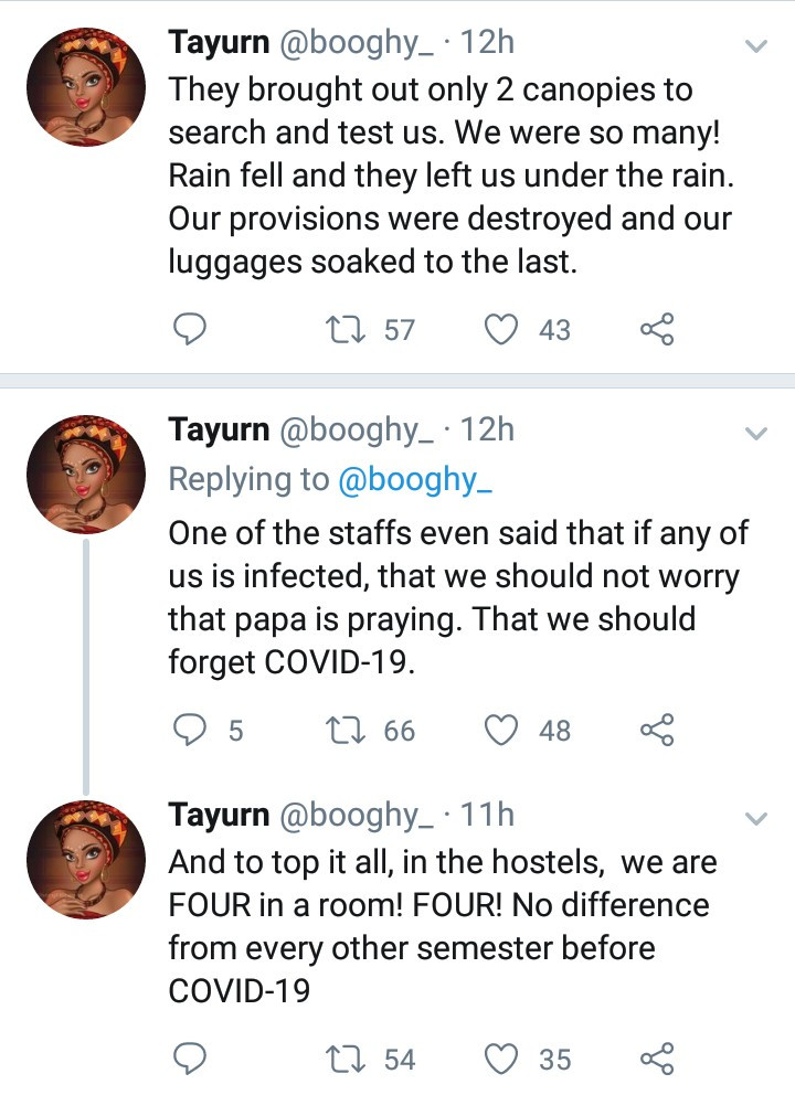"""""""They lied to our parents"""" Covenant University students accuse the school of leaving them under the rain to carry out pregnancy and drug test, instead of COVID-19 test"""